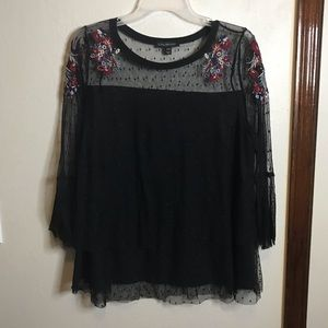 Sheer and embroidered blouse